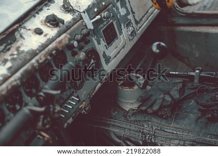 Details of ancient army tank - stock photo