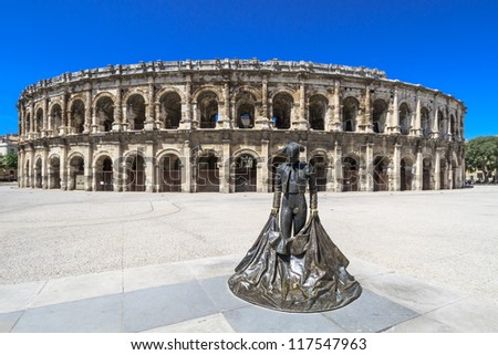 Details of Ancient Roman Amphitheater in Nimes, France