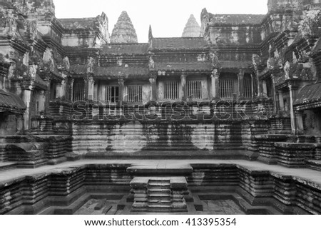 Details of Angkor Wat temple, the largest religious monument in the world, UNESCO World Heritage in Cambodia. Black and white. - stock photo