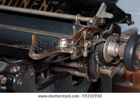 details of antique typewriter - stock photo