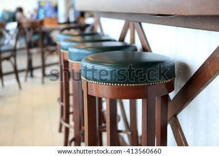Details of bar stools in a restaurant