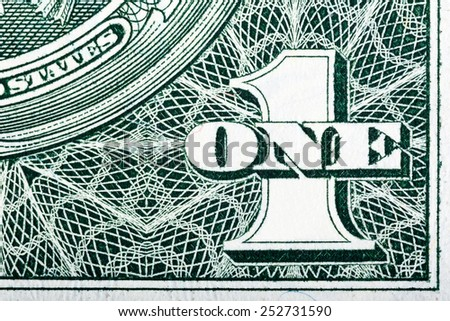 Details of bill in one American dollar. - stock photo
