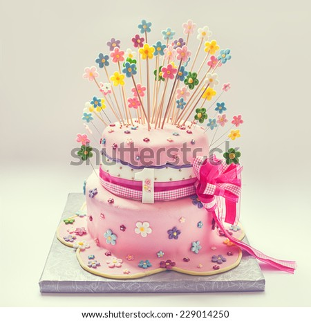 Details of birthday cake for first birthday.  - stock photo