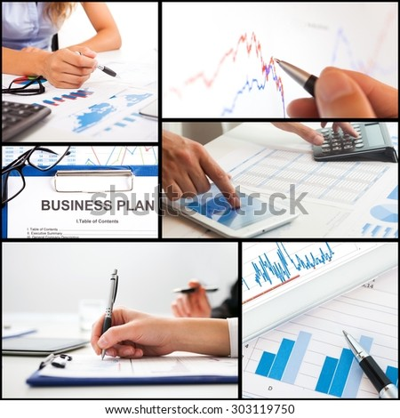Details of business people at work - stock photo