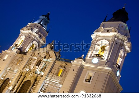 Details of  Cathedral  church on plaza de armas also known as plaza mayor,  Lima peru - stock photo