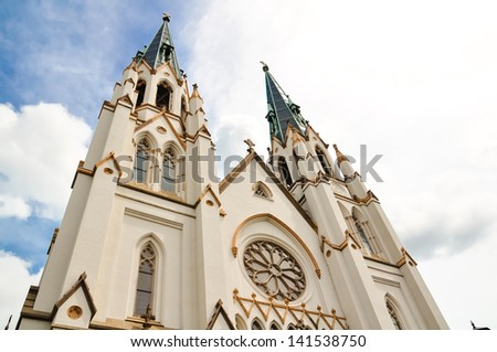 Details of Cathedral of St. John the Baptist in Savannah, Georgia - stock photo
