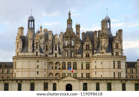 Details of Chambord castle  in the Loire Valley, France - stock photo