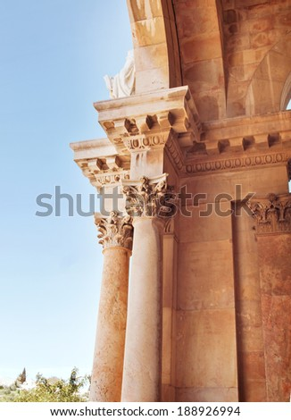 Details of  Church of All Nations or Basilica of the Agony, is a Roman Catholic church near the Garden of Gethsemane at the Mount of Olives in Jerusalem, Israel - stock photo