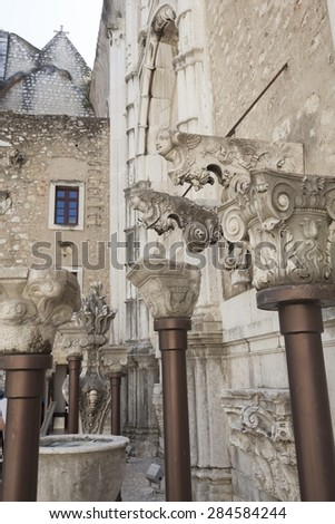 Details of Corbels inside the Convento do Carmo in Lisbon. This large cathedral built by the Carmelite order and was destroyed during the Lisbon earthquake of 1755. - stock photo