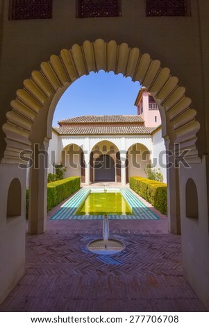 details of decorated doors of Arab style in the famous Palace of the Alcazaba in Malaga Spain - stock photo