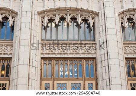 Details of entrance to neo-gothic Atlanta City hall, GA - stock photo