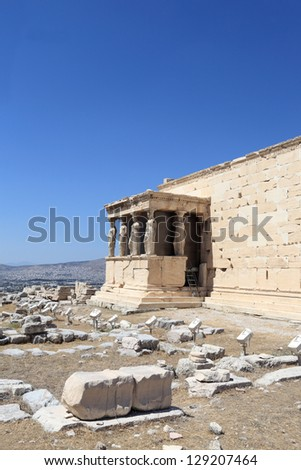 Details of Erechtheum temple at acropolis of Athens, Greece
