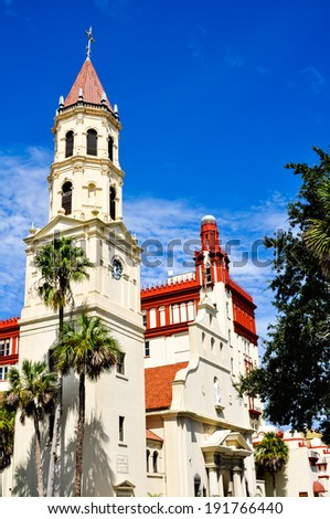 details of flagler college in st. augustine, florida - stock photo