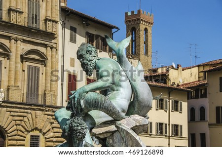 Details of Fountain of Neptune in a summer day in Florence, Italy