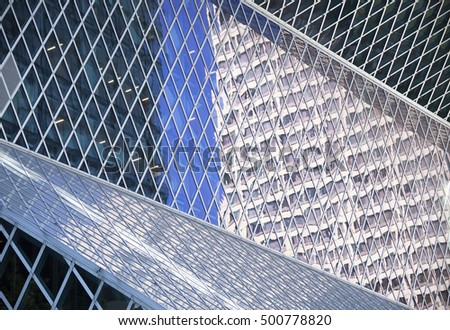 Details of glass covered modern skyscraper in Seattle downtown (Washington).