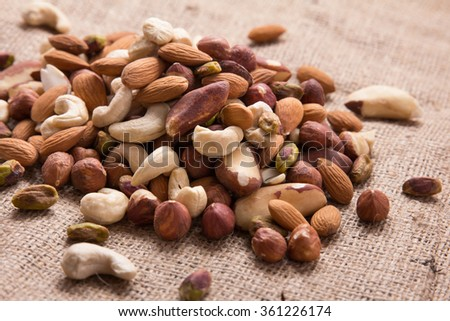 details of healthy mix nuts on burlap