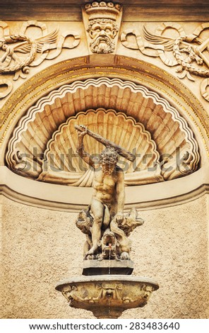 Details of Hercules Fountain in Hradcany, Prague - stock photo