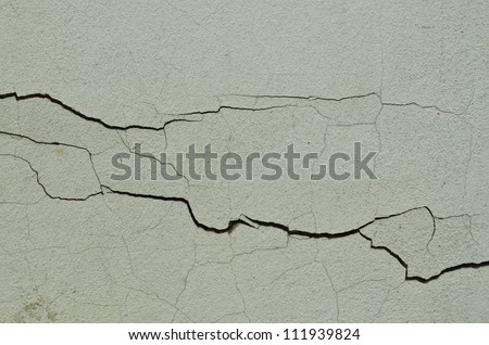 details of horizontal cracking wall - stock photo