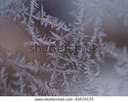 Details of ice crystals on a window shallow DOF winter background