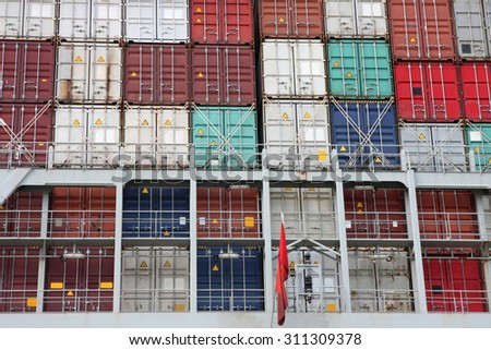 details of large cargo container ship in Hamburg harbour - stock photo