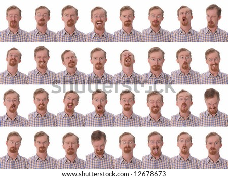 Details of large facial expressions on white background - stock photo