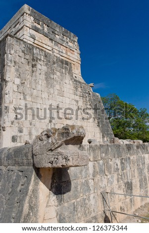 Details of Mayan Ruins in archaeological site of  Chichen Itza, Yucatan, Mexico - stock photo