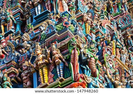 Details of Meenakshi Temple in Madurai, India - stock photo