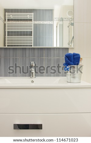 Details of modern  gray and white bathroom