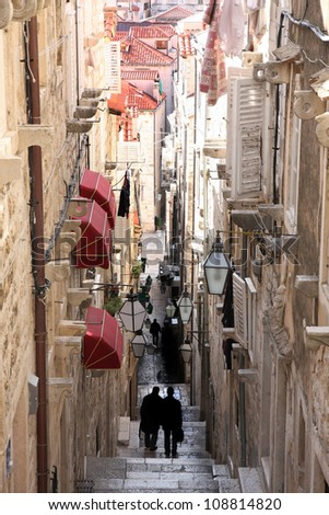 details of Narrow street in old city Dubrovnik, Croatia - stock photo