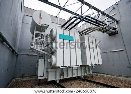 details of new high voltage power transformer  - stock photo