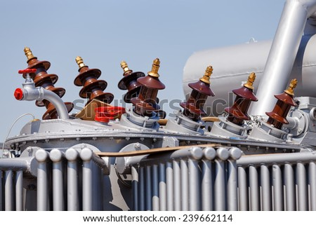 details of new high voltage transformer  - stock photo