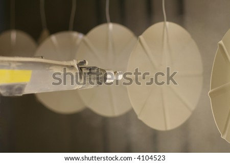 Details of new powder coating line in metal industry. - stock photo