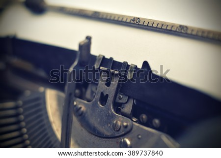 details of old vintage typewriter, extra close up - stock photo