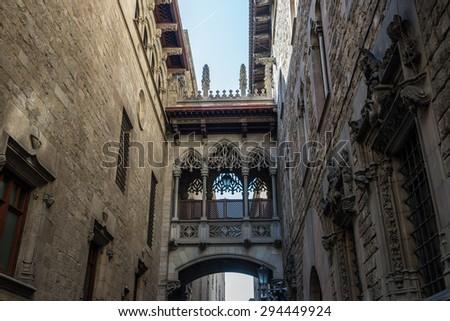 details of Palau de la Generalitat de Catalunya at Gothic Quarter in Barcelona, Spain - stock photo