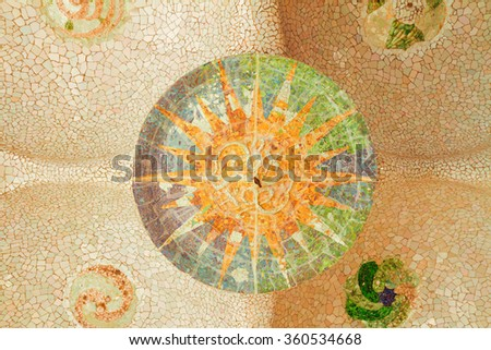 details of  park Guell mosaic at summer day, Barcelona, Spain - stock photo