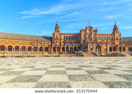 Details of Plaza de Espana in Seville, Spain