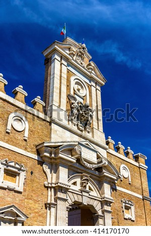 Details of Porta Pia in Rome, Italy - stock photo