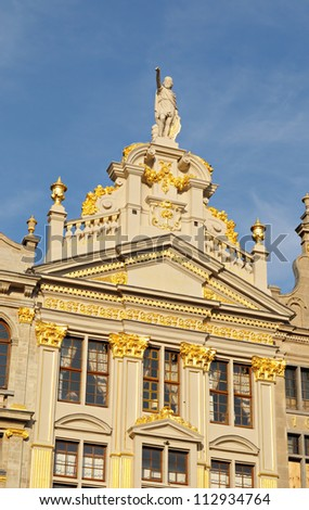 Details of recently restored facade of historical building on Grand Place in Brussels, Belgium in sunny day - stock photo