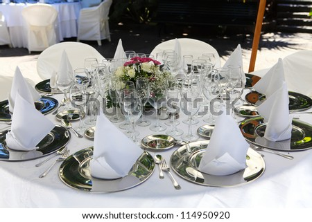 details of restaurant outdoor terrace in white tones - stock photo