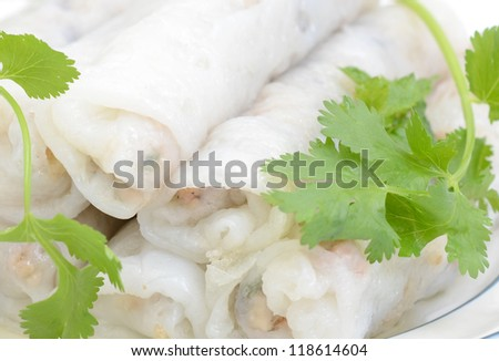 Details of rice wrapping rolls food - stock photo