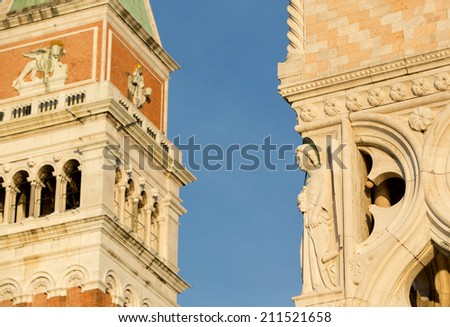 Details of San Marco Tower and details of Dodge Palace, Venice Italy - stock photo