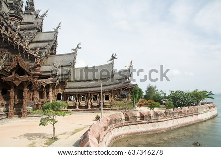 Details of Sanctuary of Truth temple (Prasat Satchatham),handmade reliefs and sculptures, Pattaya, Thailand
