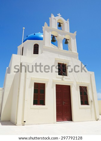 details of Santorini island Greece - beautiful typical blue dome church and belfry - stock photo