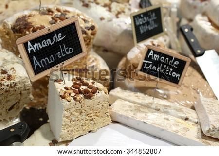 Details of several varieties of french nougat.