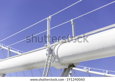 Details of suspension cables of the new San Francisco-Oakland  Bay Bridge - stock photo