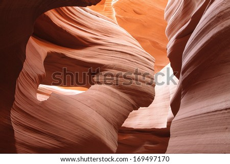 Details of textures in Lower Antelope Canyon, Page, Arizona, USA - stock photo