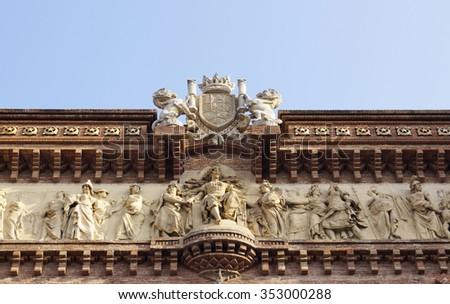 Details of the Arc de Triomf in Barcelona, Spain - stock photo