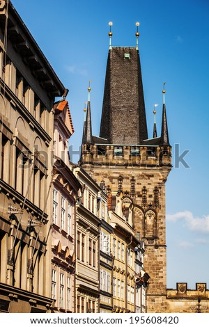 Details of the baroque facades in the street Mostecka of Prague,nearby Charles bridge, low angle view - stock photo