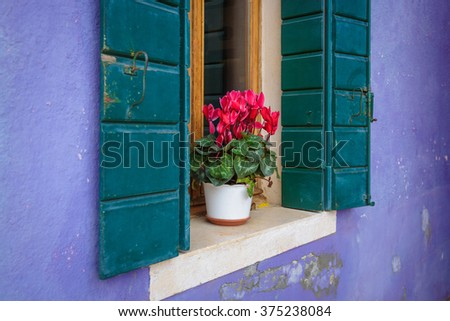 Details of the beautiful, colorful village of Burano. - stock photo