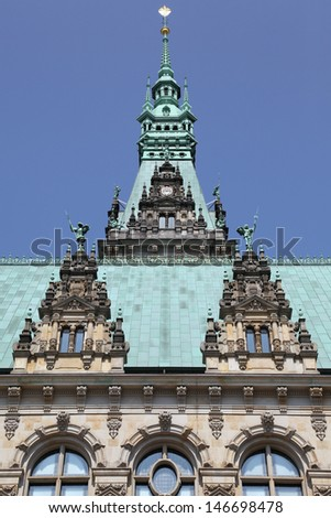 details of the city hall of Hamburg, Germany